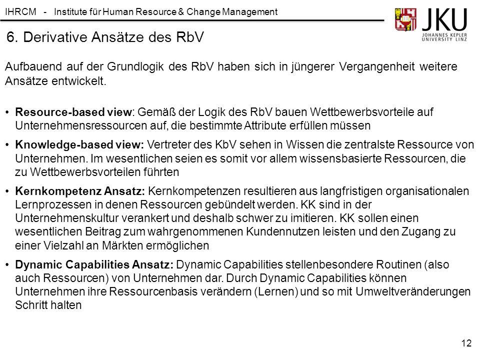 6. Derivative Ansätze des RbV