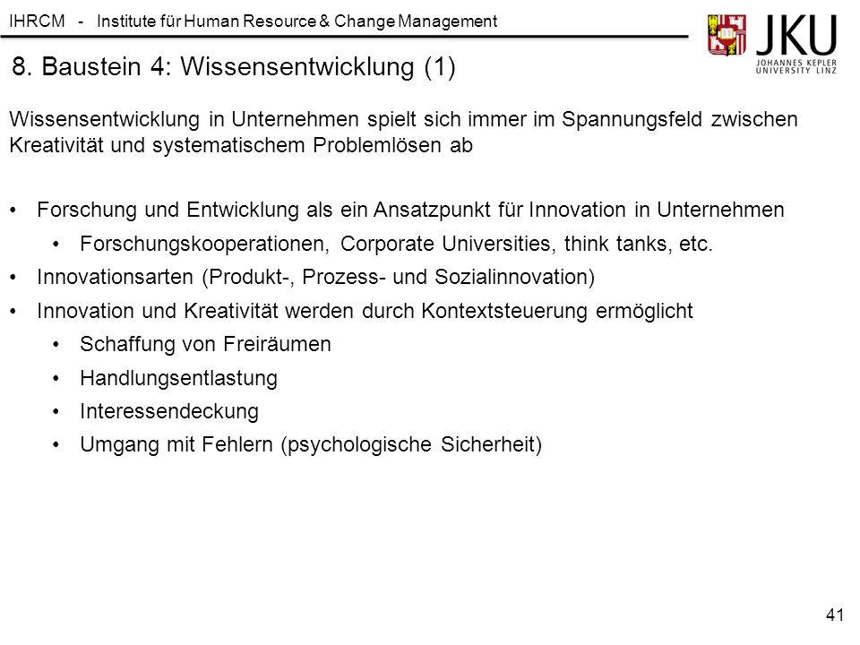 8. Baustein 4: Wissensentwicklung (1)