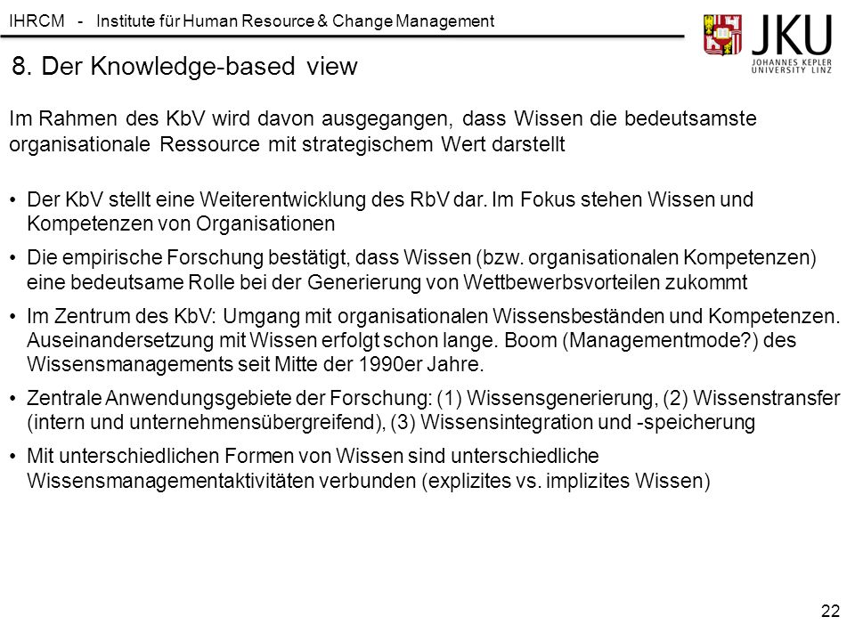 8. Der Knowledge-based view