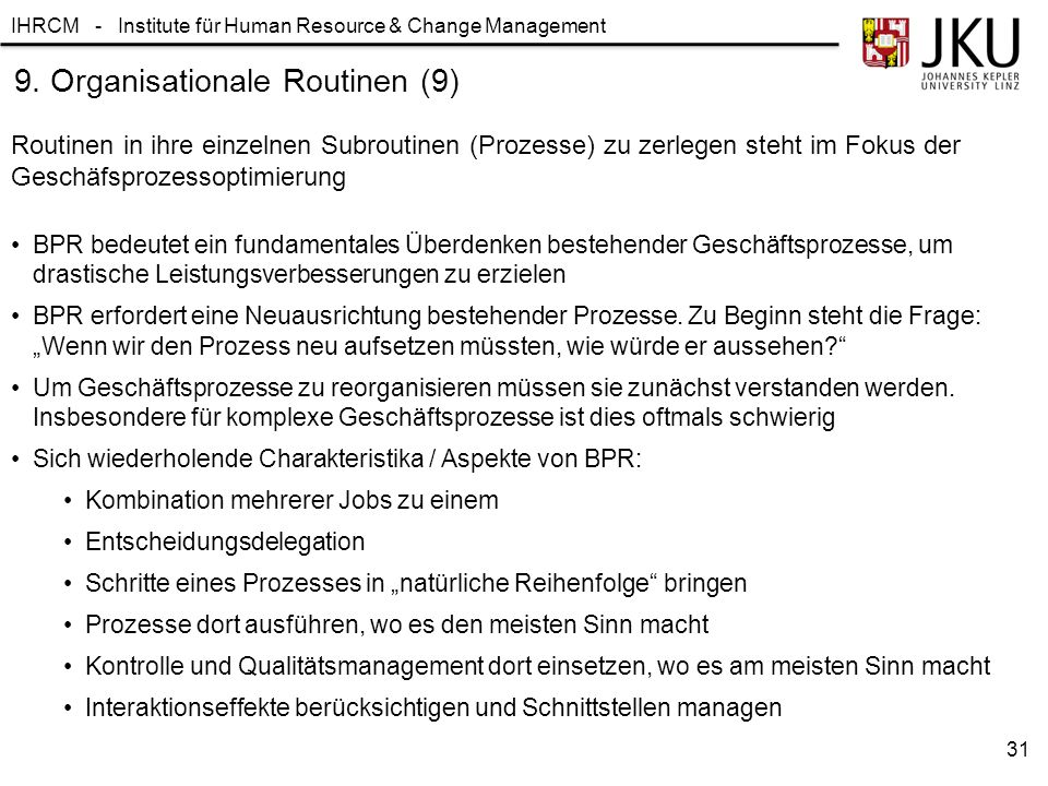 9. Organisationale Routinen (9)