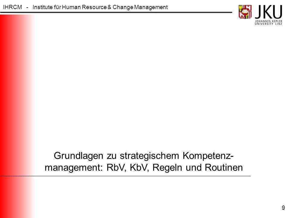 Grundlagen zu strategischem Kompetenz-management: RbV, KbV, Regeln und Routinen