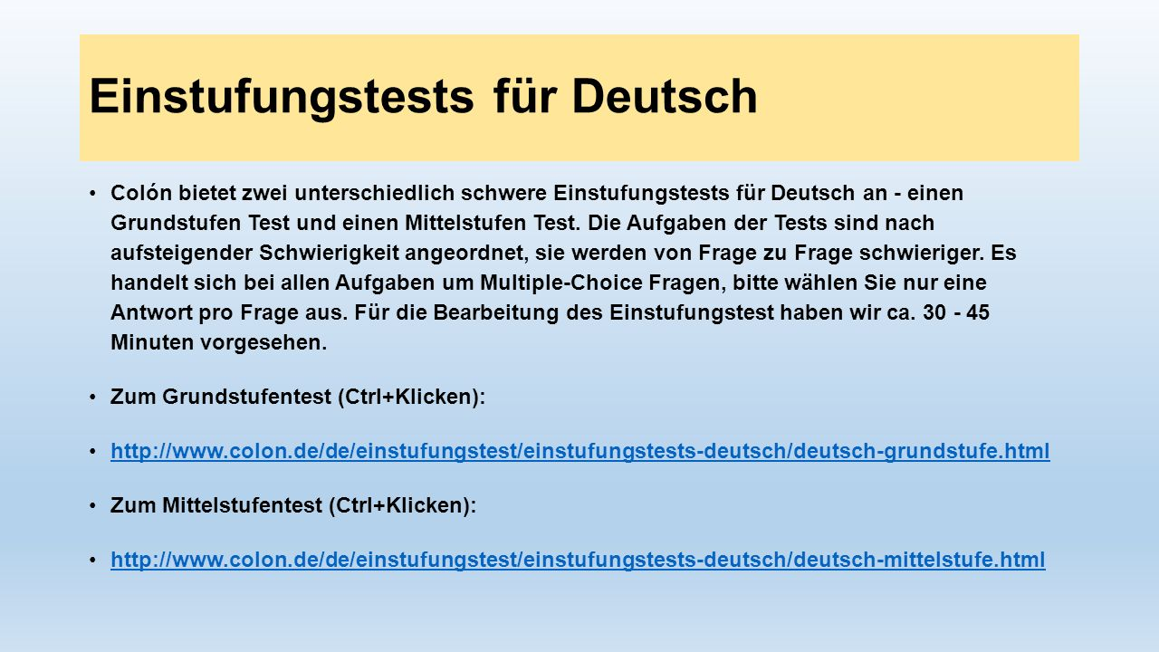 Einstufungstests für Deutsch
