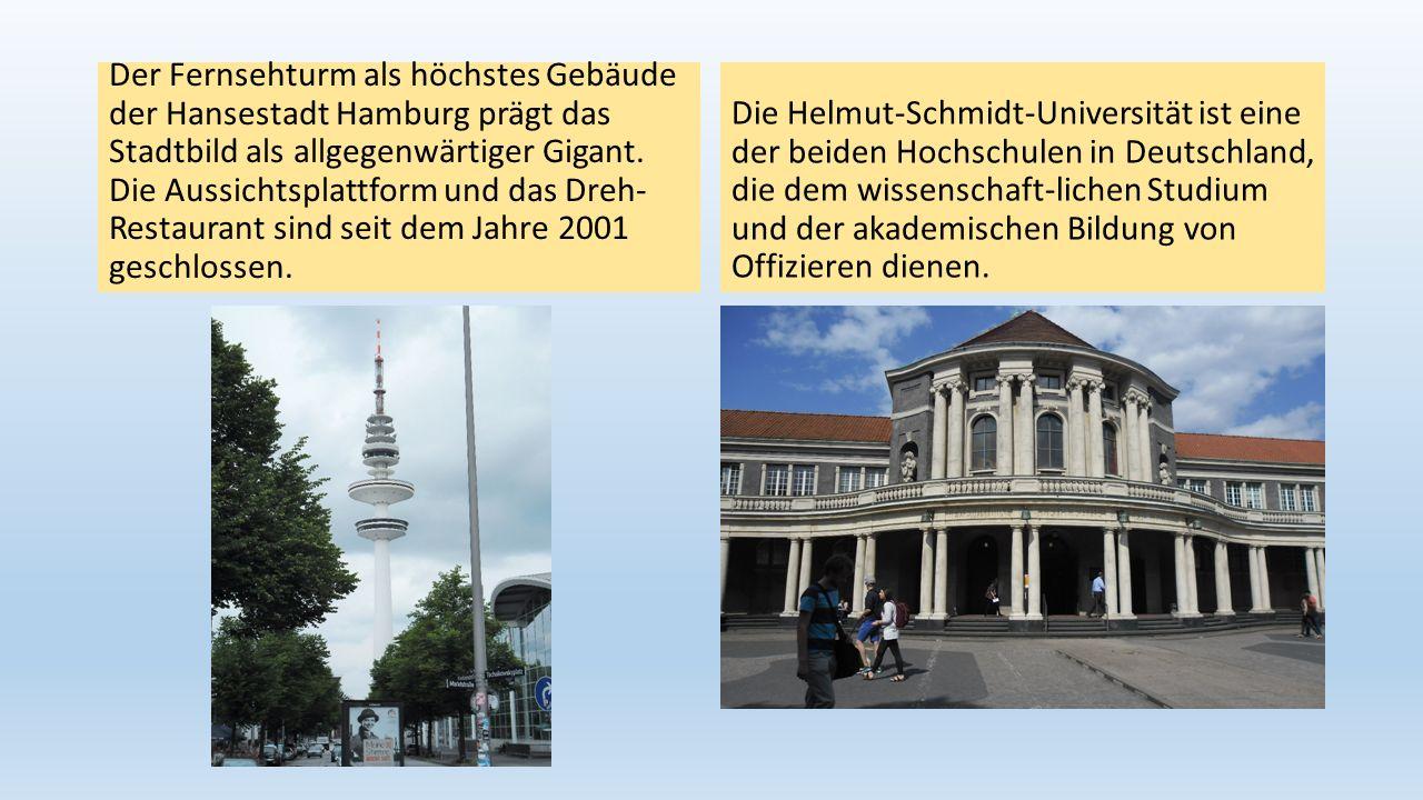 Der Fernsehturm als höchstes Gebäude der Hansestadt Hamburg prägt das Stadtbild als allgegenwärtiger Gigant. Die Aussichtsplattform und das Dreh- Restaurant sind seit dem Jahre 2001 geschlossen.