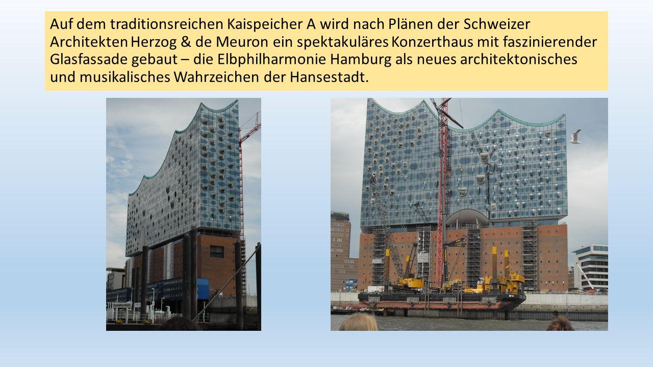 Auf dem traditionsreichen Kaispeicher A wird nach Plänen der Schweizer Architekten Herzog & de Meuron ein spektakuläres Konzerthaus mit faszinierender Glasfassade gebaut – die Elbphilharmonie Hamburg als neues architektonisches und musikalisches Wahrzeichen der Hansestadt.