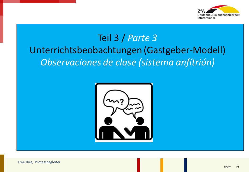 Unterrichtsbeobachtungen (Gastgeber-Modell)