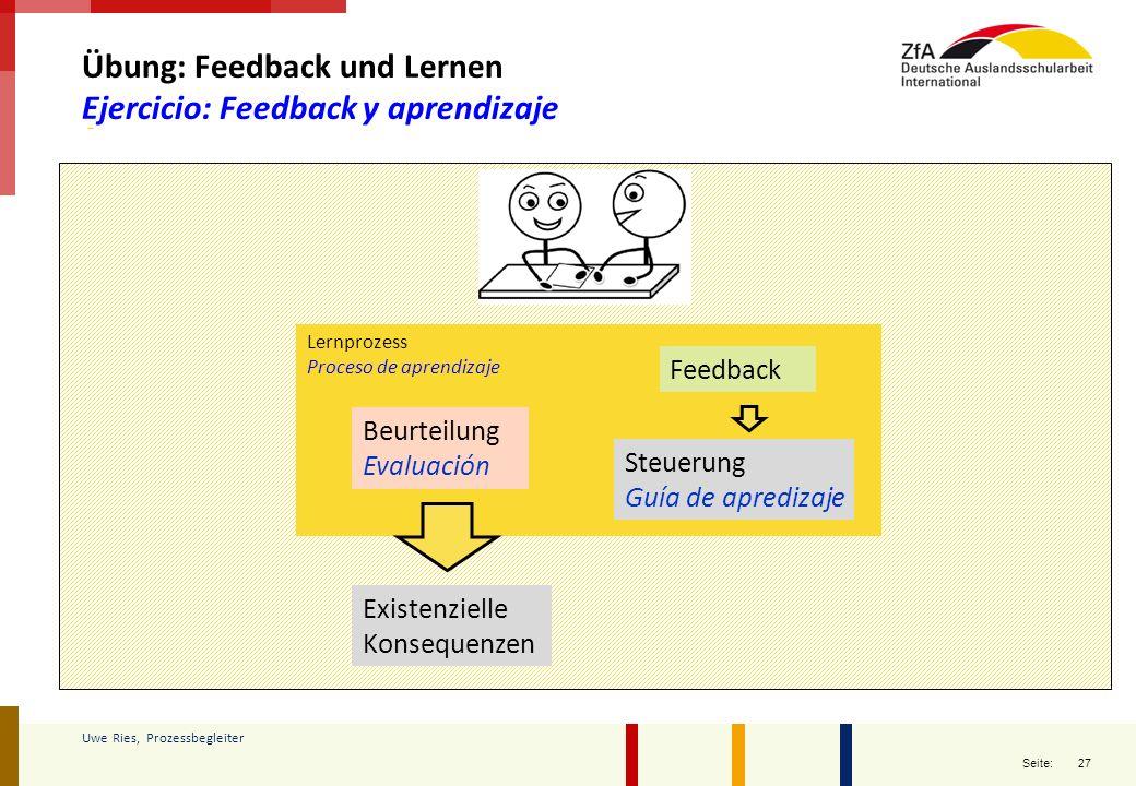Übung: Feedback und Lernen Ejercicio: Feedback y aprendizaje