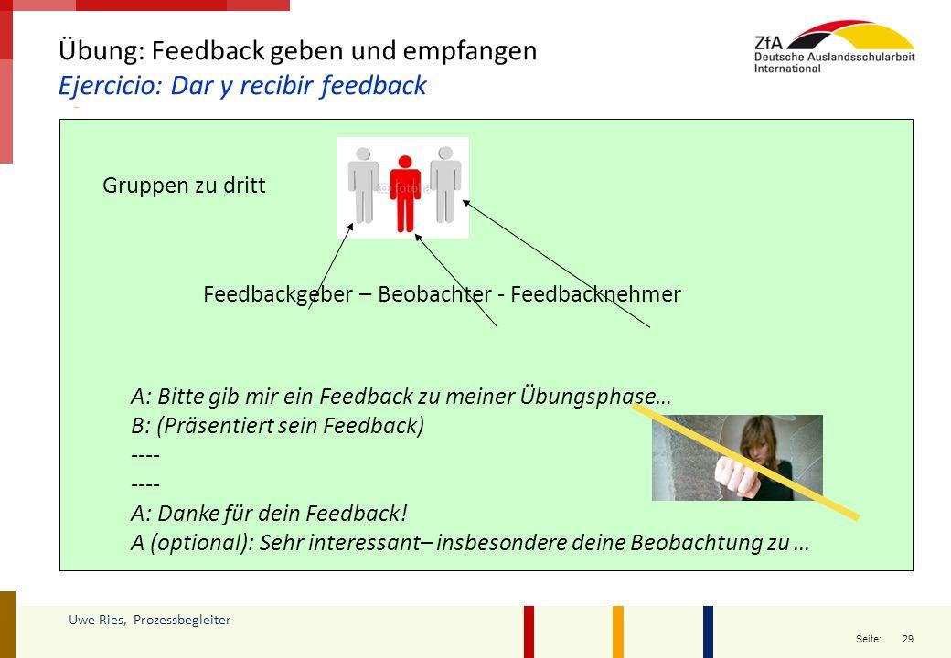 Übung: Feedback geben und empfangen Ejercicio: Dar y recibir feedback