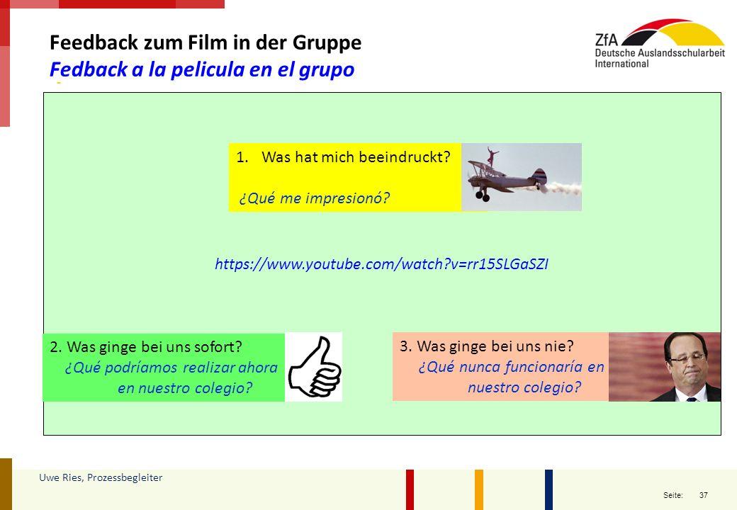 Feedback zum Film in der Gruppe Fedback a la pelicula en el grupo