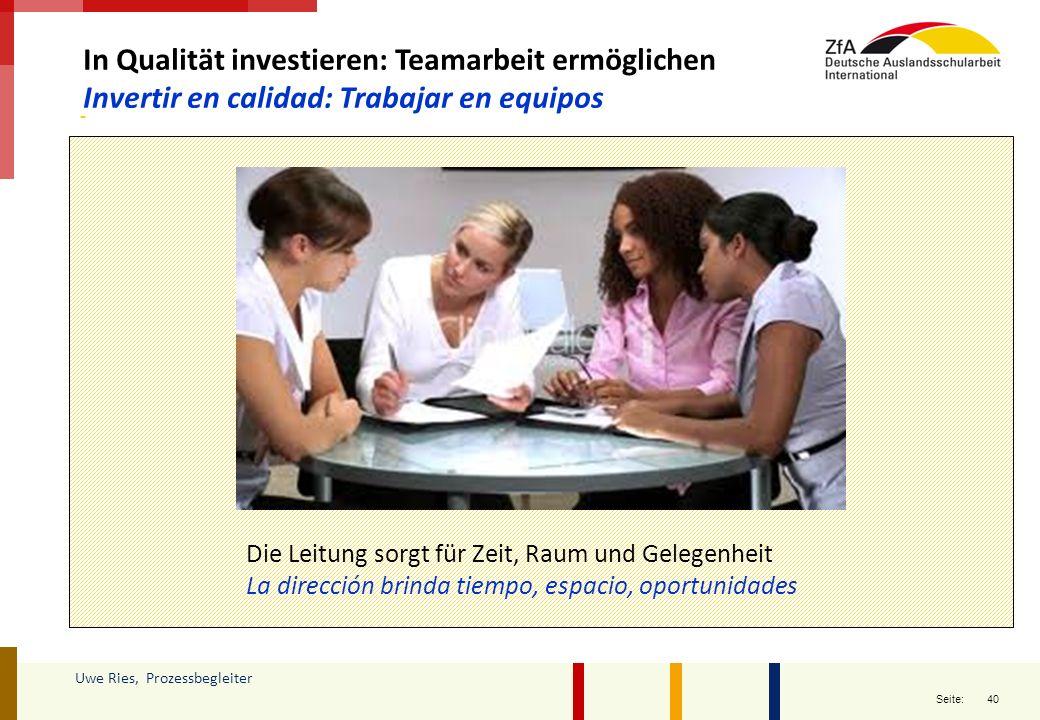 In Qualität investieren: Teamarbeit ermöglichen
