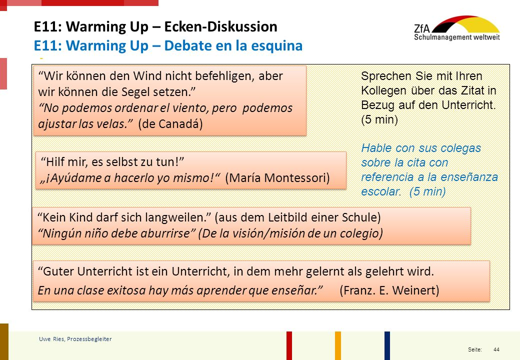 E11: Warming Up – Ecken-Diskussion