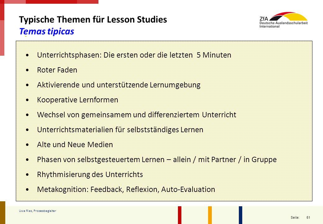 Typische Themen für Lesson Studies Temas tipicas