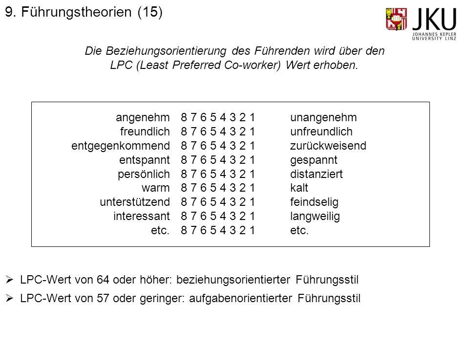 9. Führungstheorien (15) Die Beziehungsorientierung des Führenden wird über den. LPC (Least Preferred Co-worker) Wert erhoben.