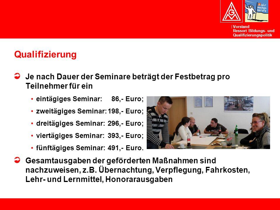 Qualifizierung Je nach Dauer der Seminare beträgt der Festbetrag pro Teilnehmer für ein. eintägiges Seminar: 86,- Euro;