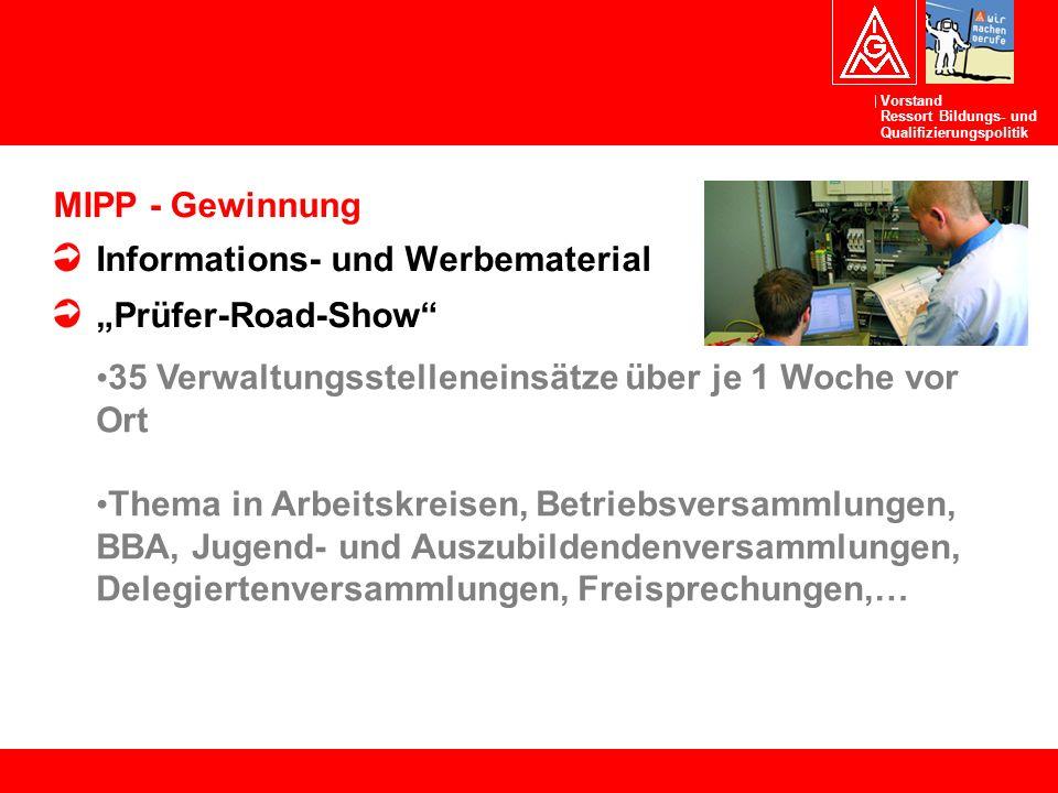 """MIPP - Gewinnung Informations- und Werbematerial. """"Prüfer-Road-Show 35 Verwaltungsstelleneinsätze über je 1 Woche vor Ort."""