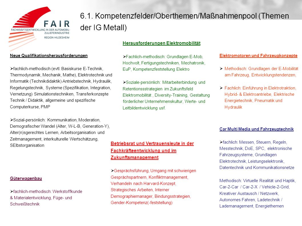 6.1. Kompetenzfelder/Oberthemen/Maßnahmenpool (Themen der IG Metall)