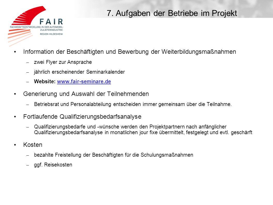7. Aufgaben der Betriebe im Projekt