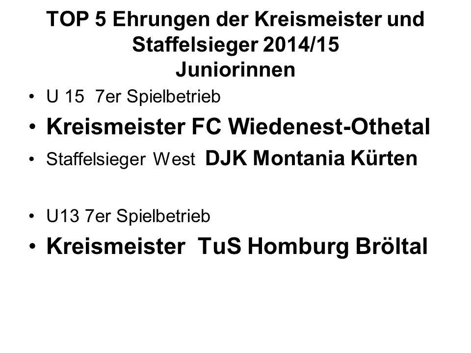 TOP 5 Ehrungen der Kreismeister und Staffelsieger 2014/15 Juniorinnen