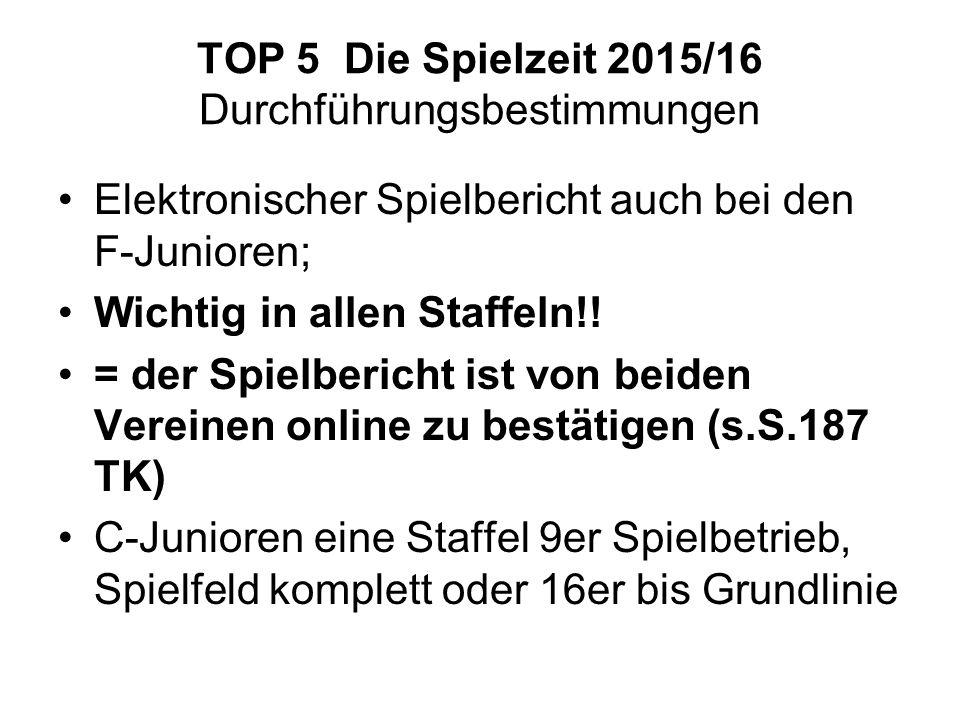 TOP 5 Die Spielzeit 2015/16 Durchführungsbestimmungen