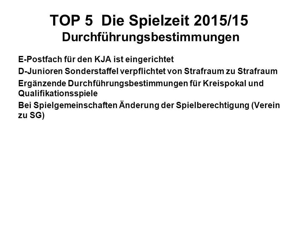 TOP 5 Die Spielzeit 2015/15 Durchführungsbestimmungen