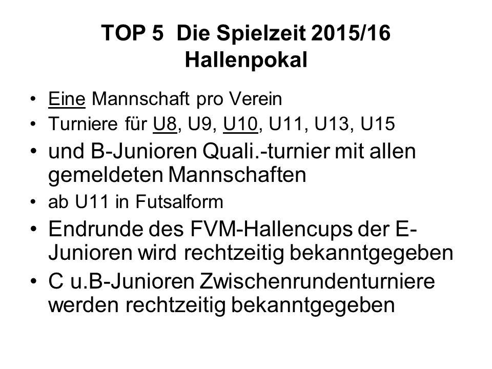 TOP 5 Die Spielzeit 2015/16 Hallenpokal