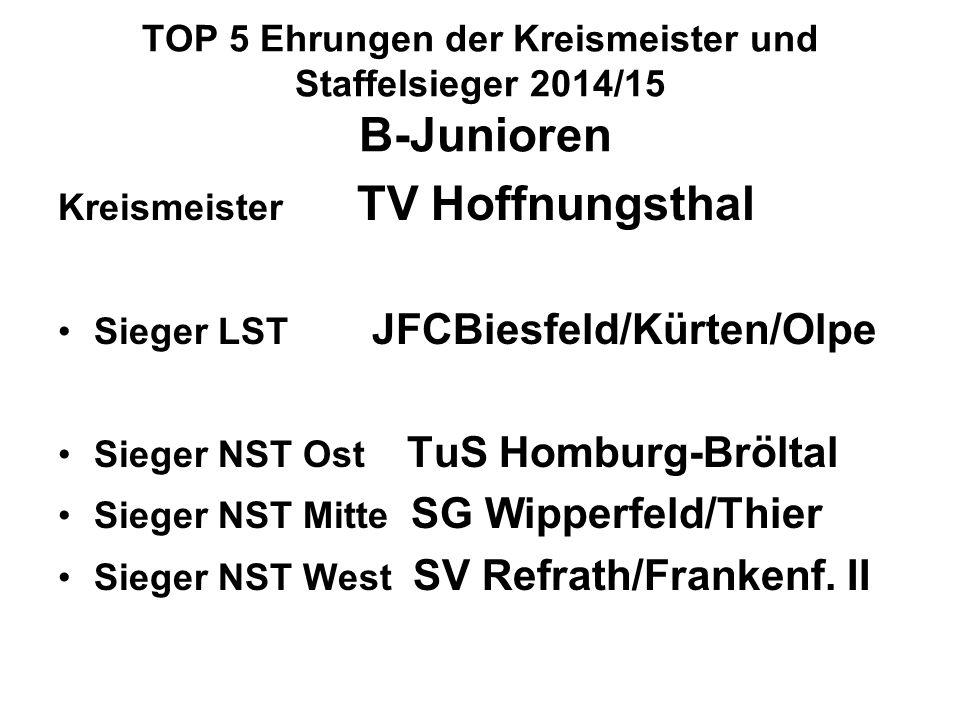 TOP 5 Ehrungen der Kreismeister und Staffelsieger 2014/15 B-Junioren