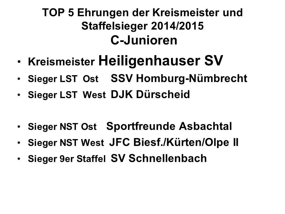TOP 5 Ehrungen der Kreismeister und Staffelsieger 2014/2015 C-Junioren
