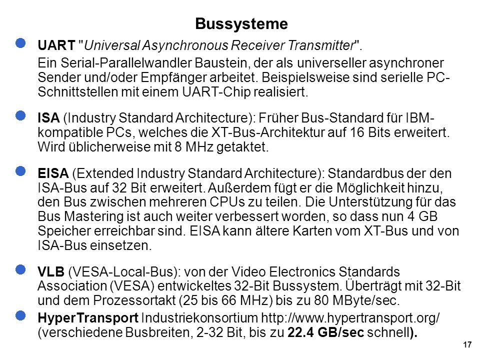 Bussysteme UART Universal Asynchronous Receiver Transmitter .