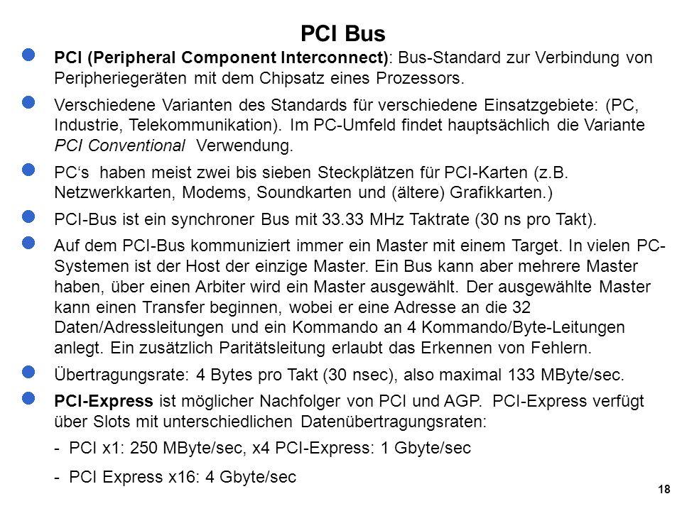 PCI Bus PCI (Peripheral Component Interconnect): Bus-Standard zur Verbindung von Peripheriegeräten mit dem Chipsatz eines Prozessors.