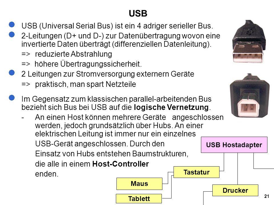 USB USB (Universal Serial Bus) ist ein 4 adriger serieller Bus.