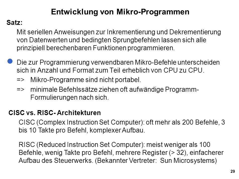 Entwicklung von Mikro-Programmen