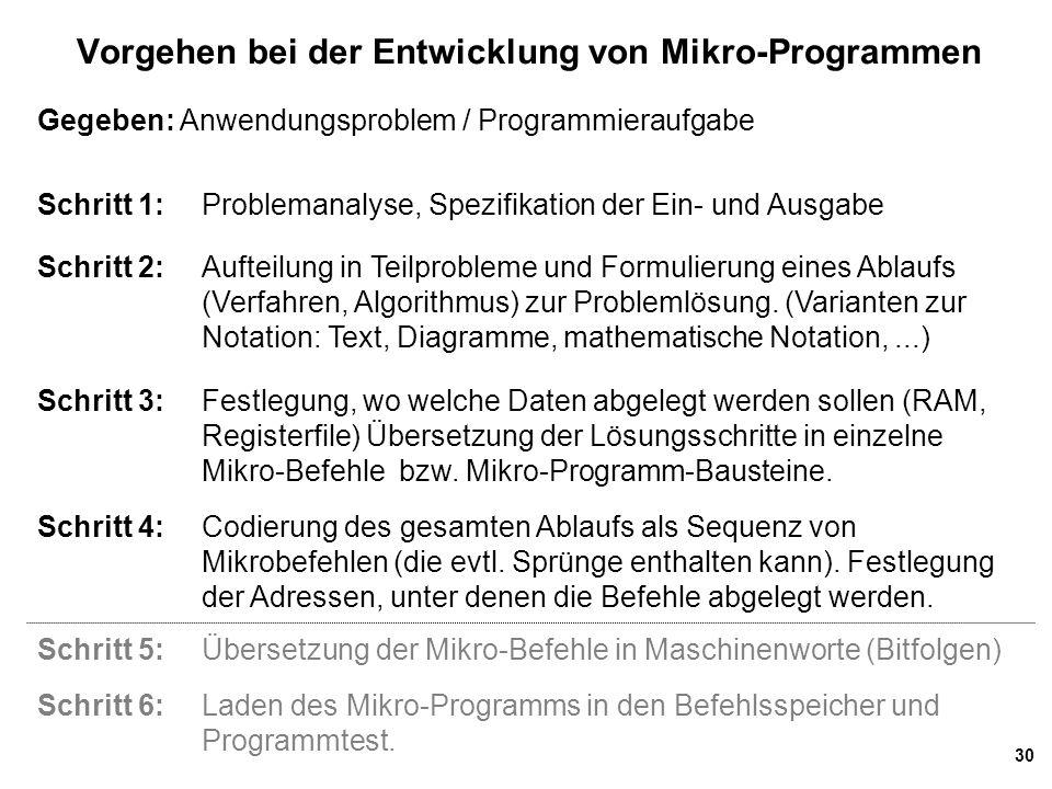 Vorgehen bei der Entwicklung von Mikro-Programmen