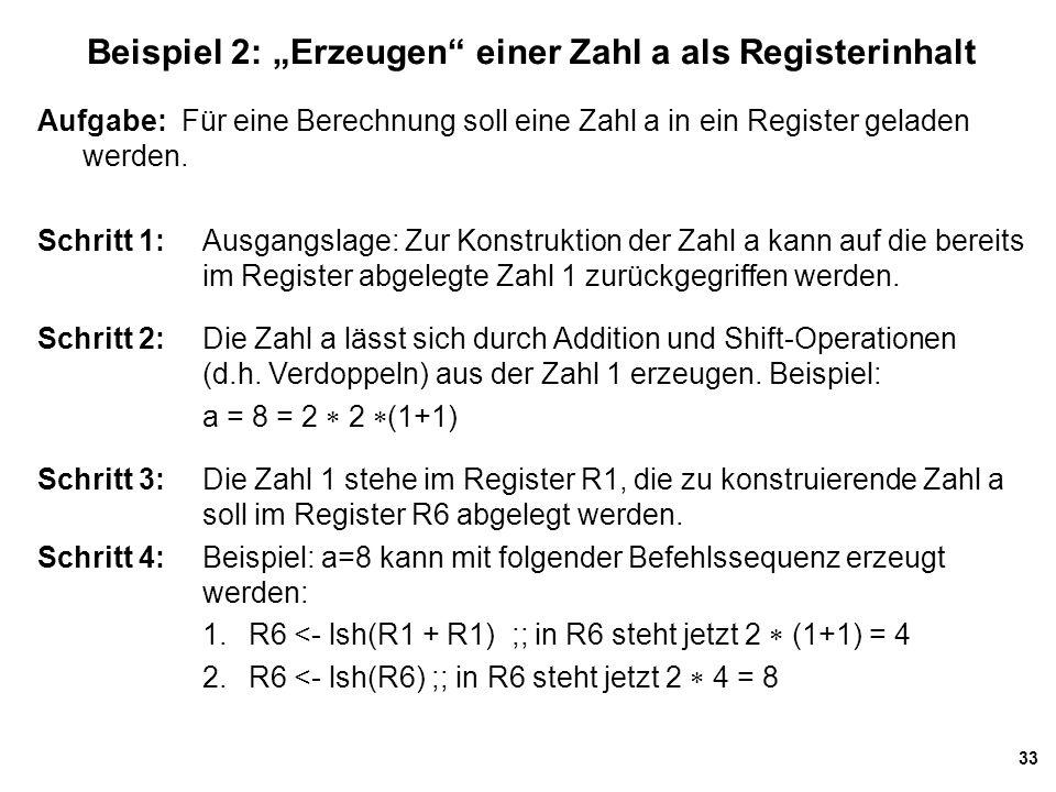 """Beispiel 2: """"Erzeugen einer Zahl a als Registerinhalt"""
