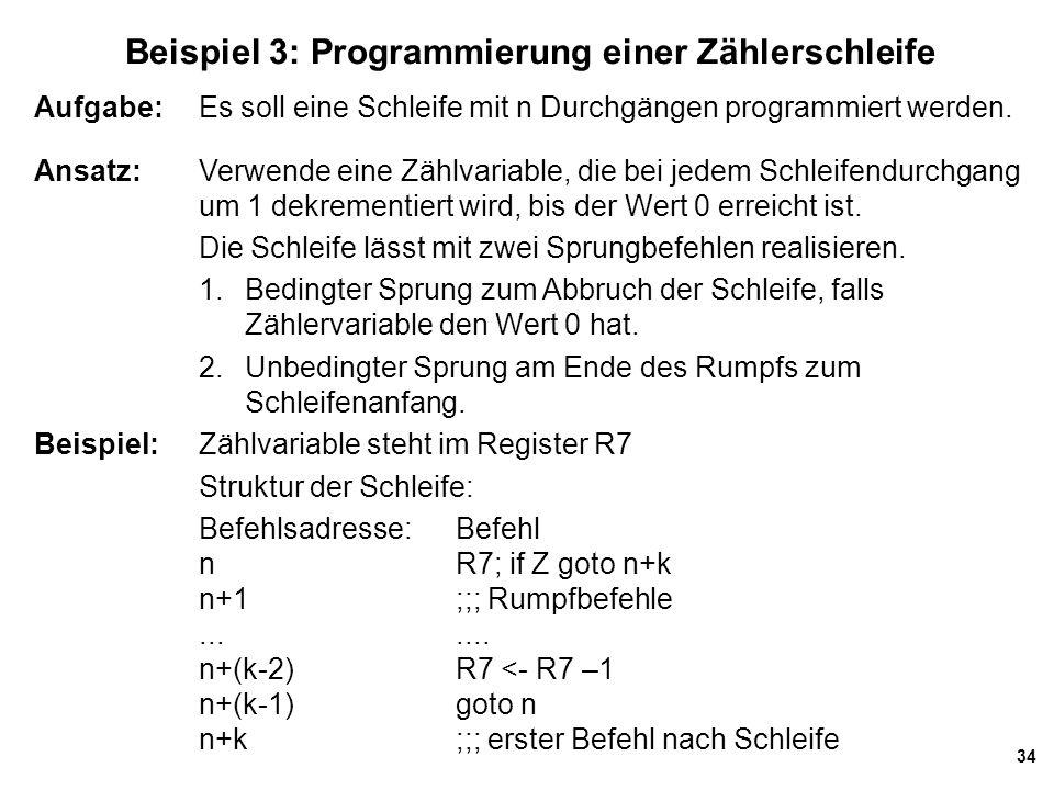 Beispiel 3: Programmierung einer Zählerschleife