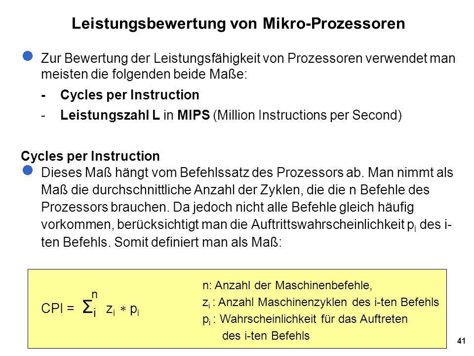 Leistungsbewertung von Mikro-Prozessoren