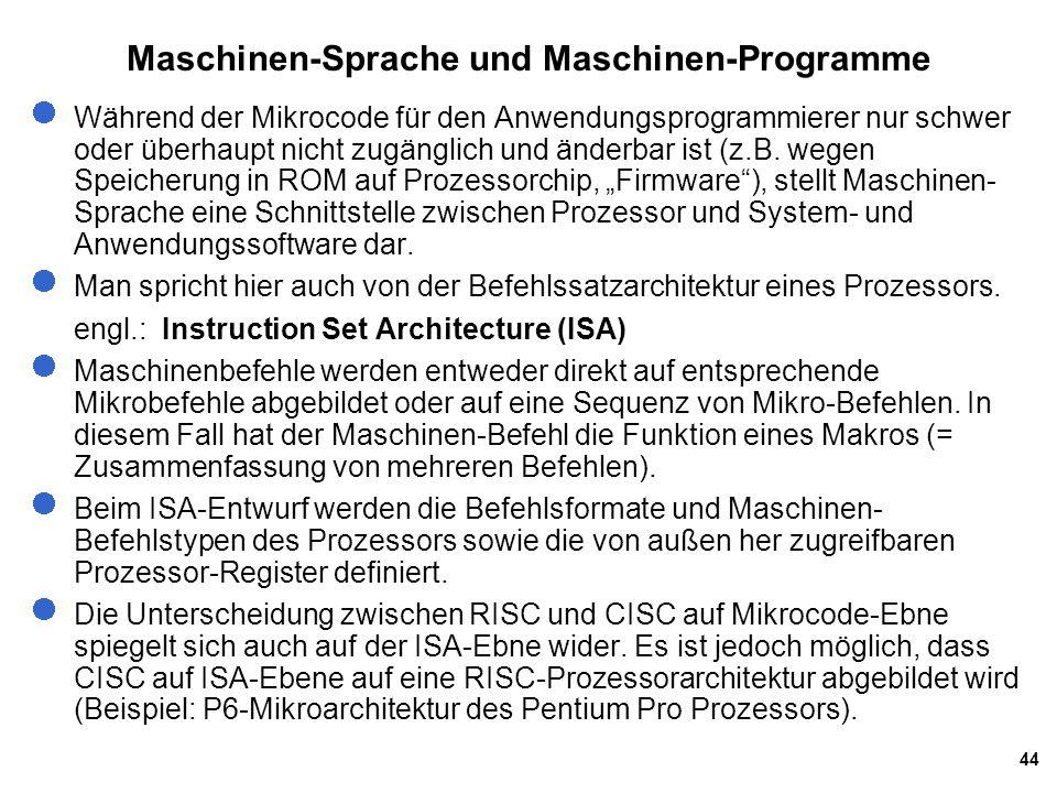 Maschinen-Sprache und Maschinen-Programme