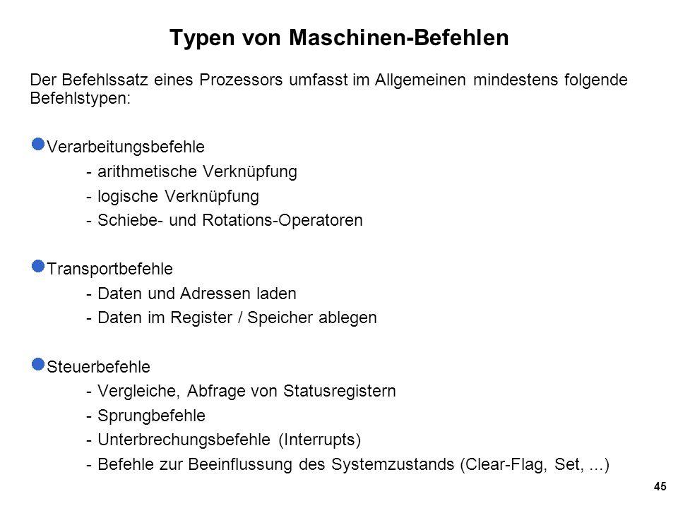 Typen von Maschinen-Befehlen