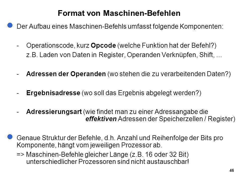 Format von Maschinen-Befehlen