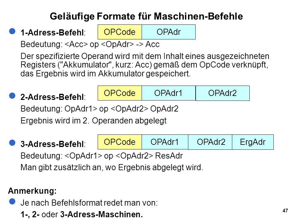 Geläufige Formate für Maschinen-Befehle