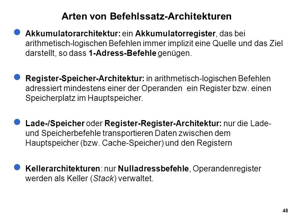 Arten von Befehlssatz-Architekturen