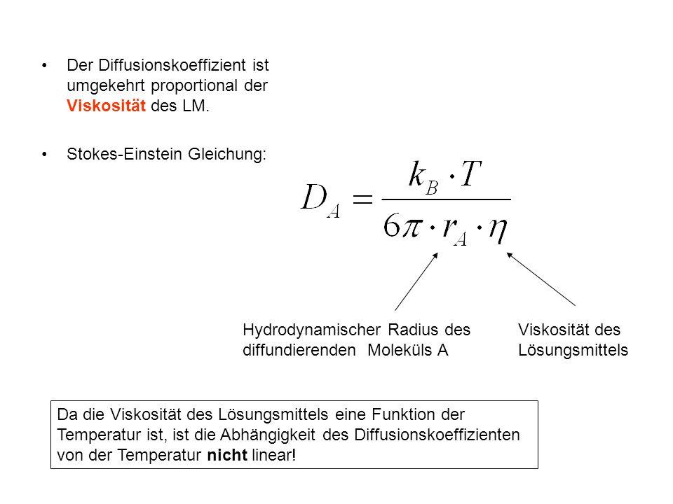 Der Diffusionskoeffizient ist umgekehrt proportional der Viskosität des LM.