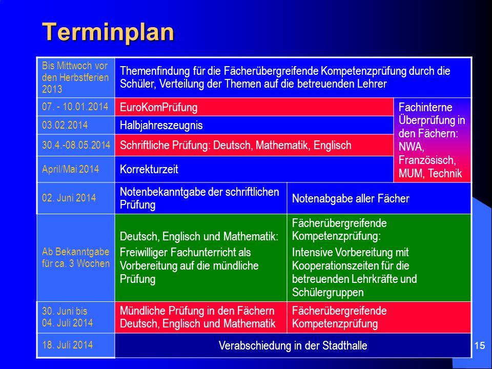 Terminplan Bis Mittwoch vor den Herbstferien 2013.