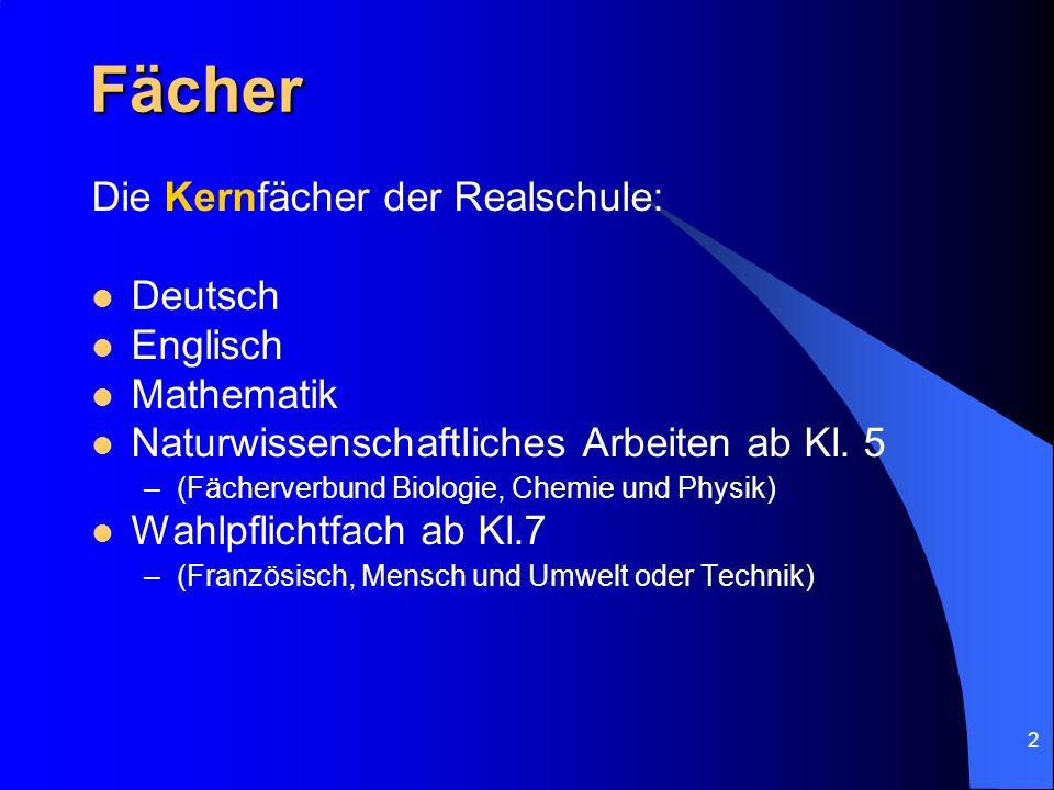 Fächer Die Kernfächer der Realschule: Deutsch Englisch Mathematik