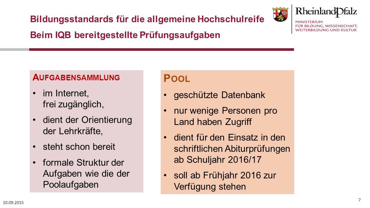 Pool Bildungsstandards für die allgemeine Hochschulreife