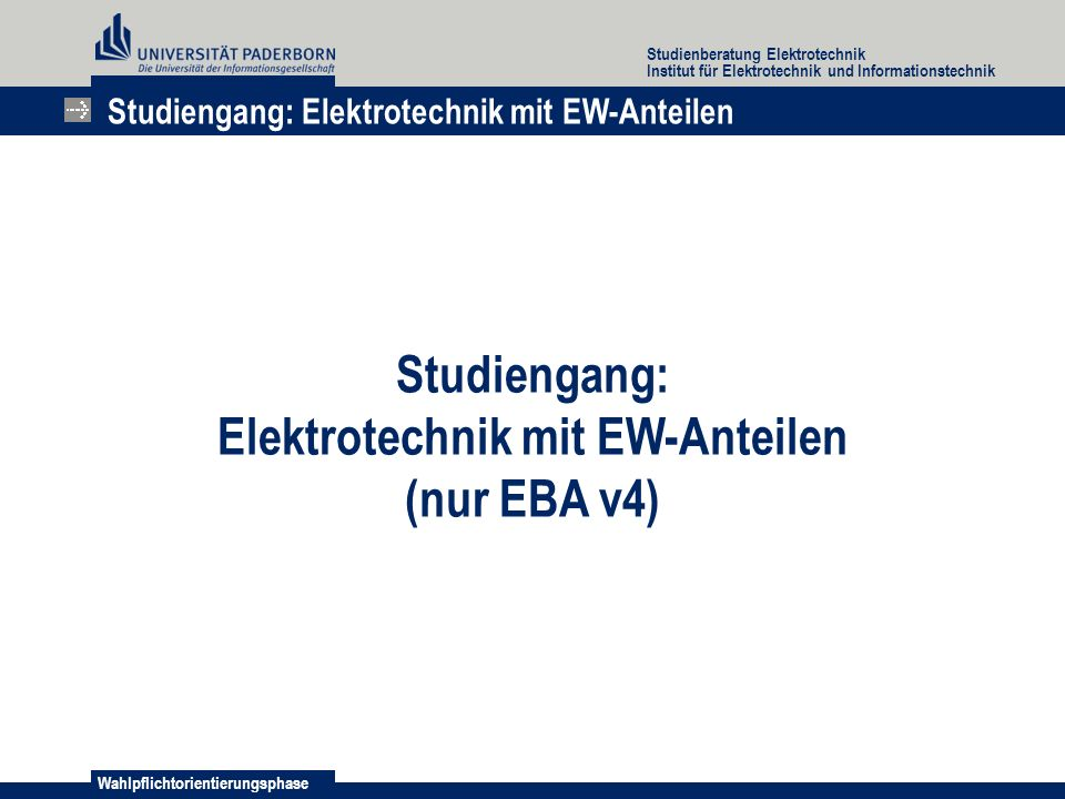 Elektrotechnik mit EW-Anteilen
