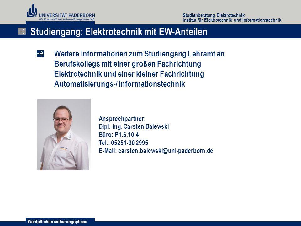 Studiengang: Elektrotechnik mit EW-Anteilen