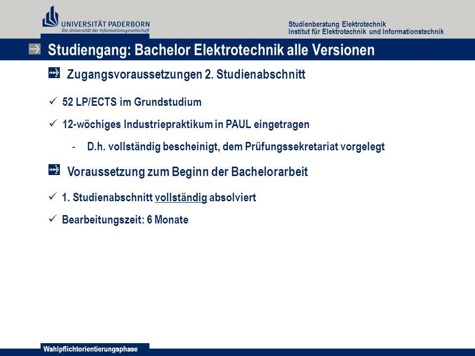 Studiengang: Bachelor Elektrotechnik alle Versionen