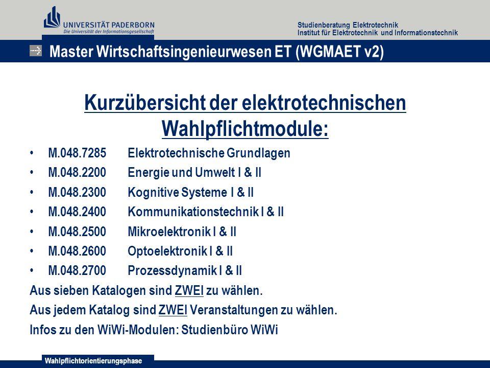 Kurzübersicht der elektrotechnischen Wahlpflichtmodule: