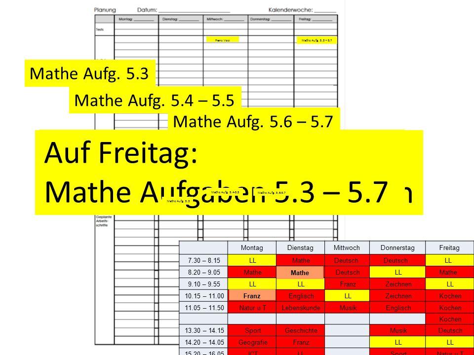 Franz Voci Unité 5 eintragen Auf Freitag: Mathe Aufgaben 5.3 – 5.7