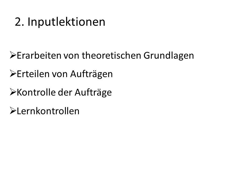 2. Inputlektionen Erarbeiten von theoretischen Grundlagen