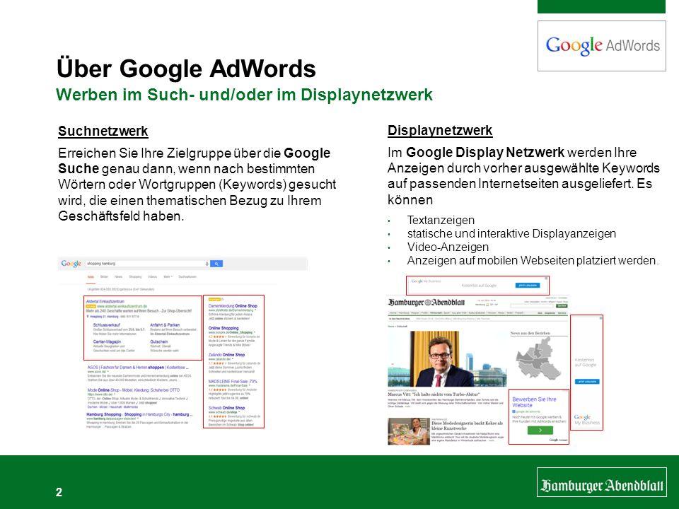 Über Google AdWords Werben im Such- und/oder im Displaynetzwerk